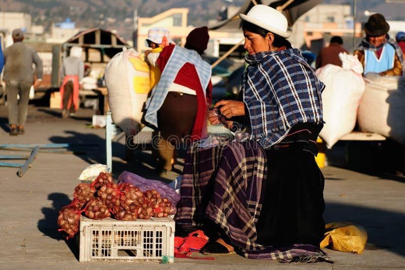 Mercado de Equador da vila de Saquisili imagens de stock