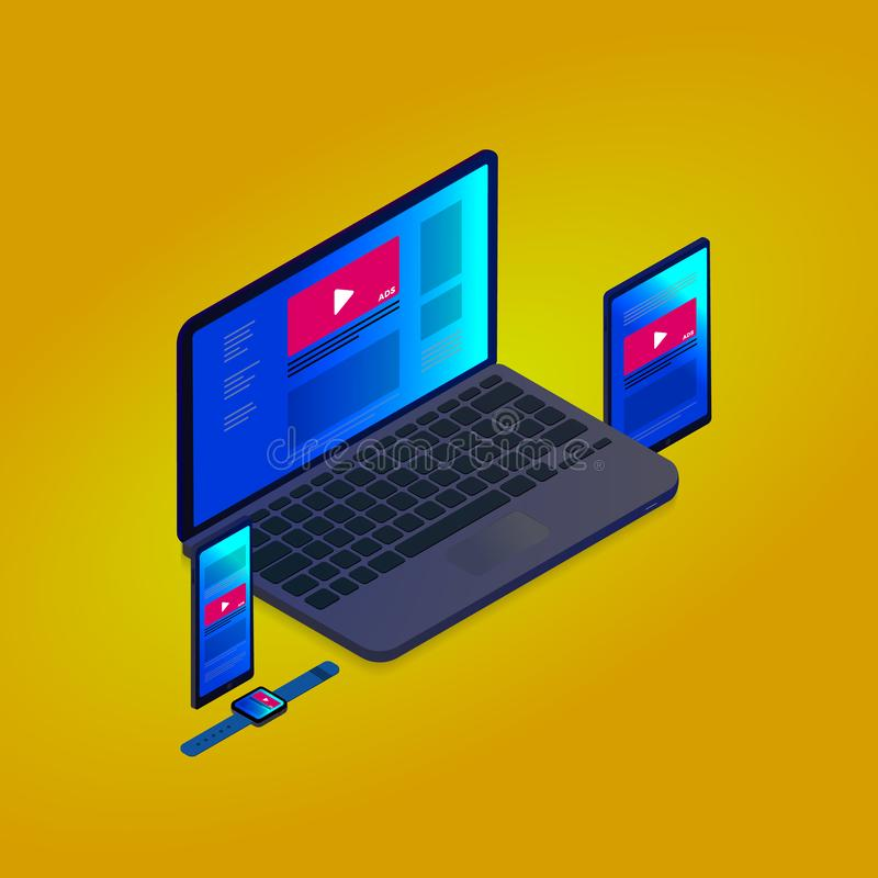 Mercado de escolha de objetivos programático e conceito isométrico de anúncio nativo - Cruz-dispositivo e multi estratégia dos an ilustração royalty free