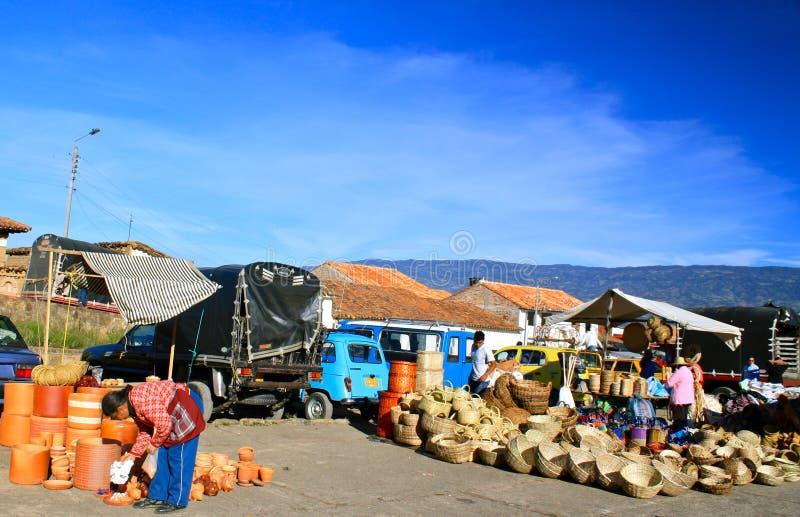 Mercado de Farmer´s, Casa de campo de Leyva, Colômbia imagens de stock