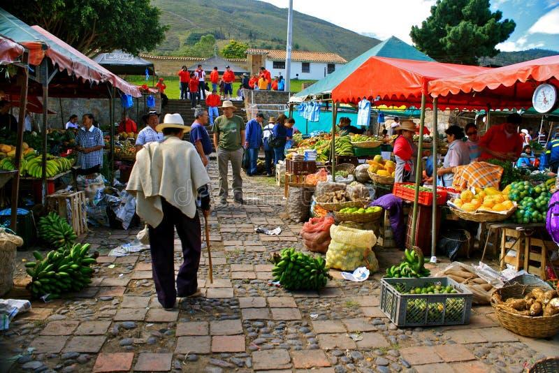 Mercado de Farmer´s, Casa de campo de Leyva, Colômbia foto de stock
