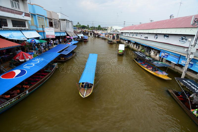 Mercado de flutuação de Amphawa Província de Samut Songkhram tailândia foto de stock royalty free