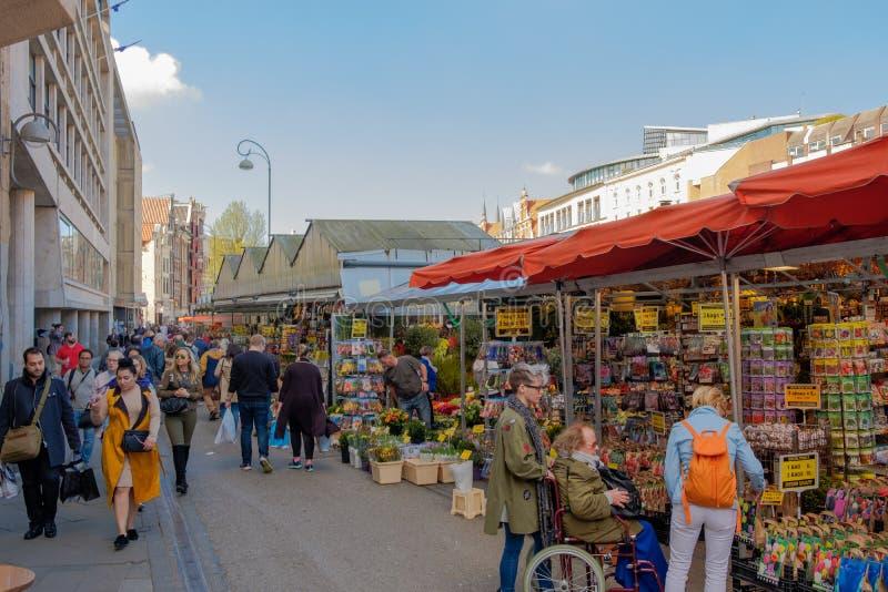 Mercado de flutuação da flor em Amsterdão imagem de stock royalty free