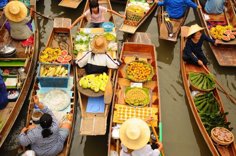 Mercado de flutuação de Amphawa, Tailândia fotos de stock