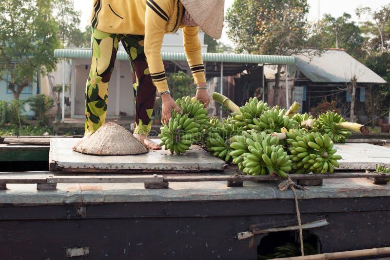 Mercado de flutuação do delta de Vietname, Mekong fotos de stock royalty free