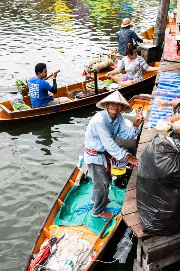 Mercado de flutuação em Banguecoque fotos de stock royalty free