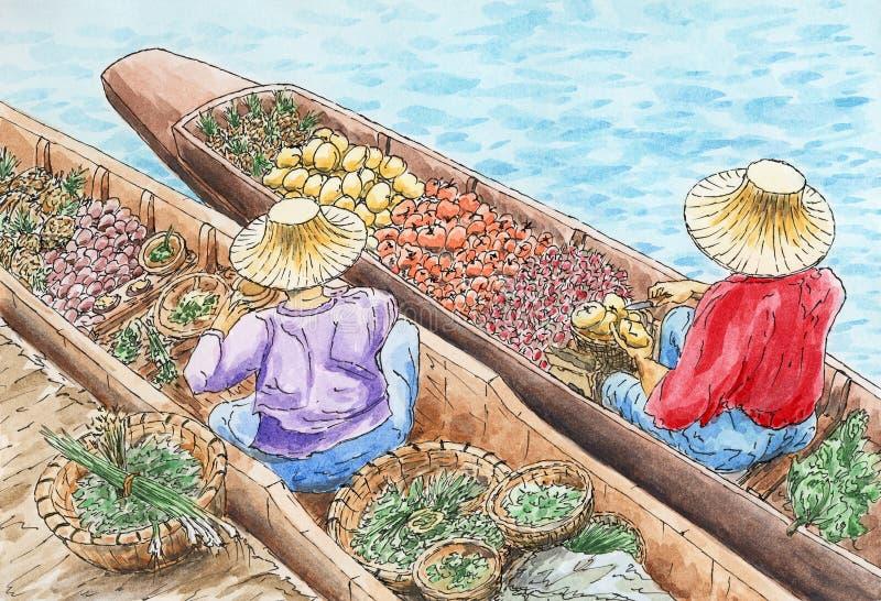Mercado de flutuação tradicional tailandês ilustração stock