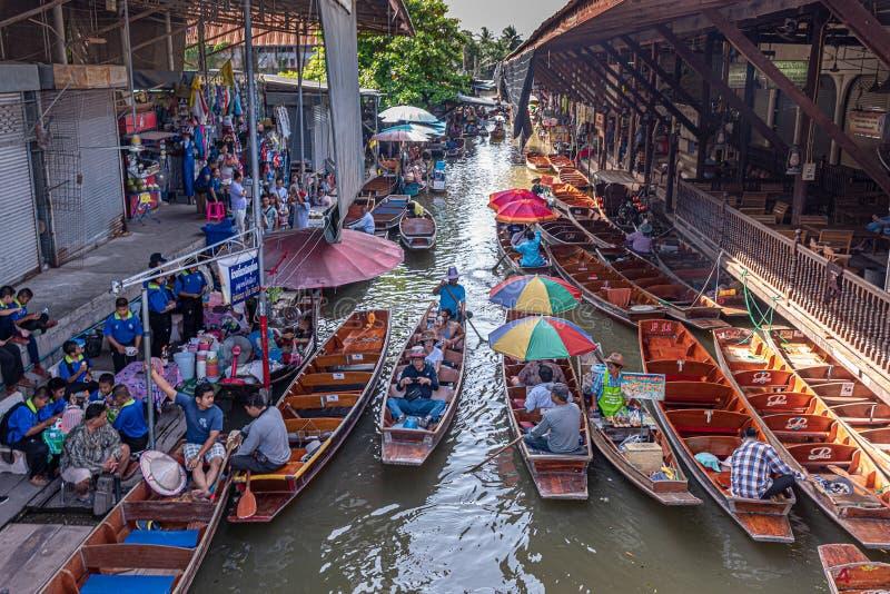Mercado de flutua??o de Damnoen Saduak fotografia de stock royalty free