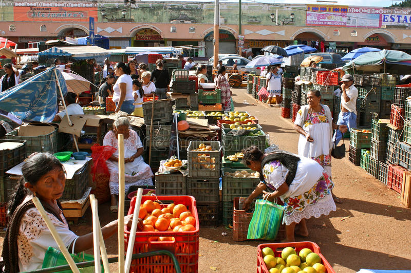 Mercado de fruta maia, Iucatão, México fotografia de stock royalty free