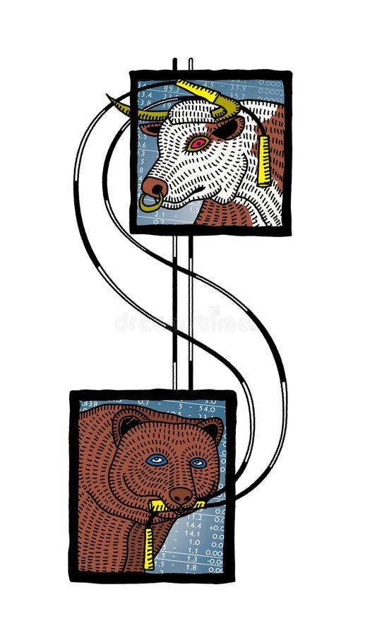Mercado de la aptitud Cabeza de un toro y de un oso atados con una muestra de dólar hecha de cuerdas que saltan rayadas Equidad  stock de ilustración