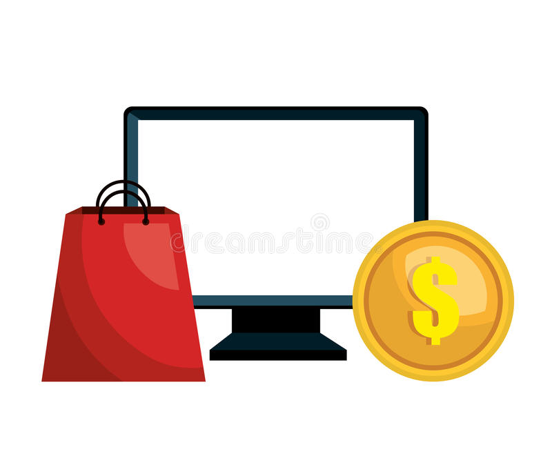 mercado de la compra del comercio electrónico del ordenador aislado libre illustration