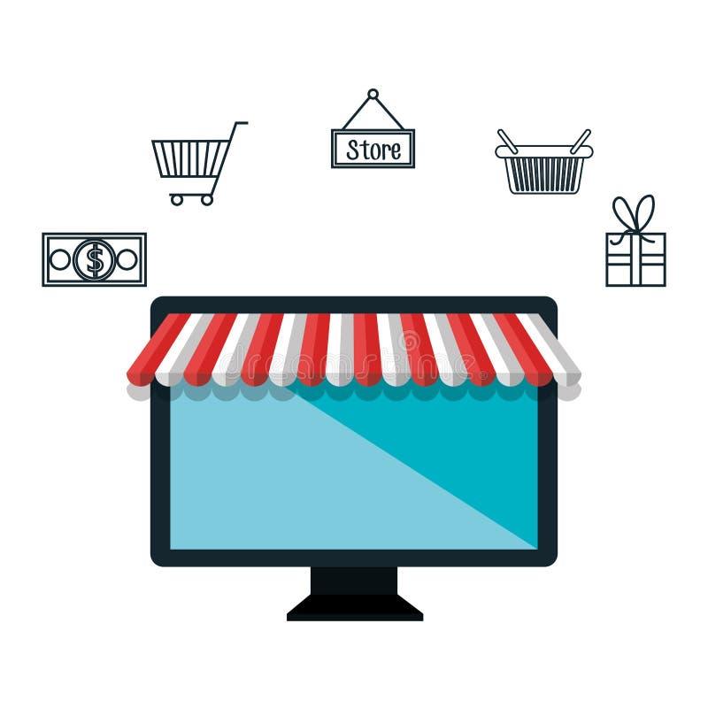 mercado de la compra del comercio electrónico del ordenador aislado stock de ilustración