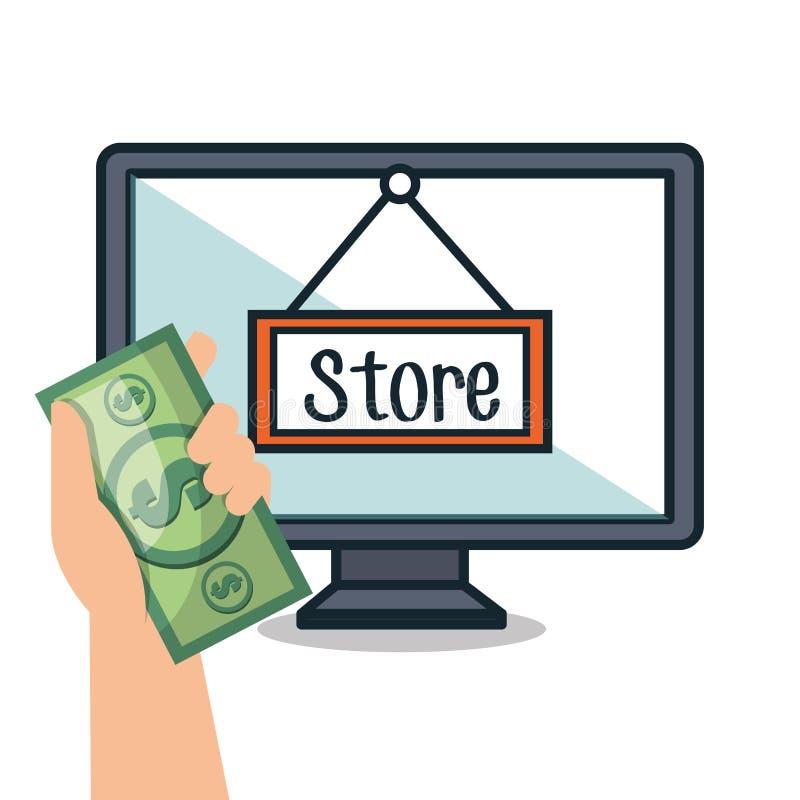 mercado de la compra del comercio electrónico del ordenador aislado ilustración del vector