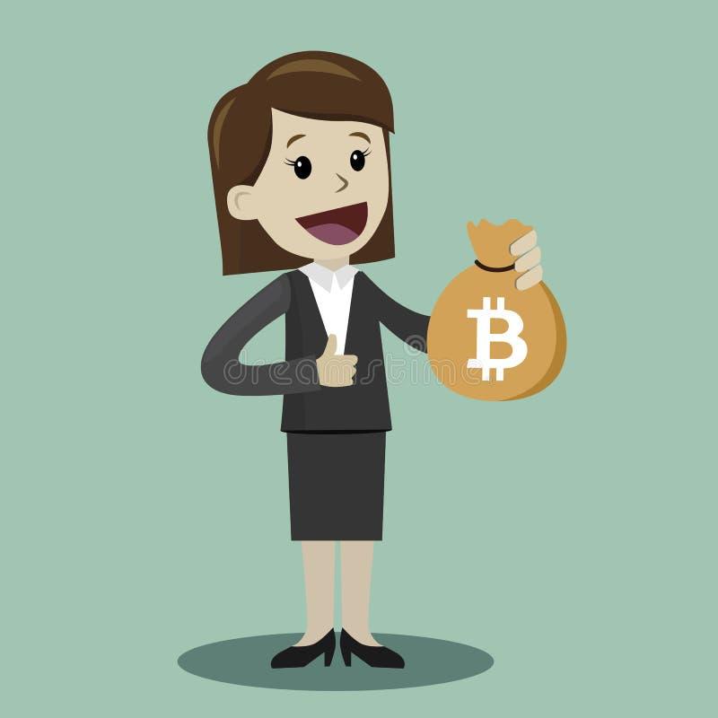 mercado de la Crypto-moneda Control afortunado de la empresaria o del encargado un bolso con Bitcoin El hombre de negocios tiene  stock de ilustración