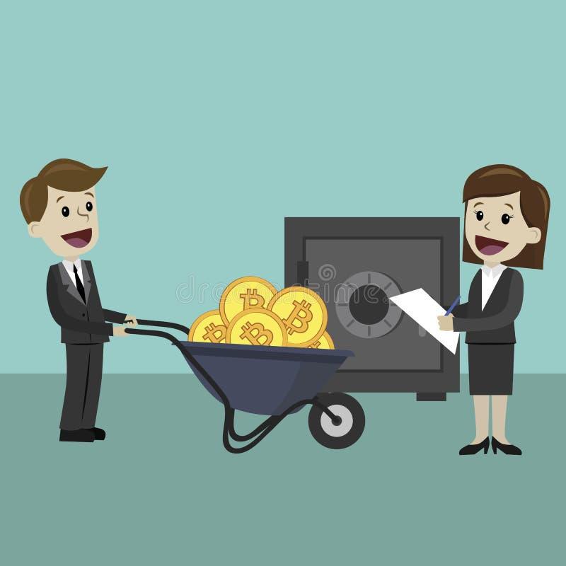 mercado de la Crypto-moneda El andbusinesswoman del hombre de negocios trae Bitcoin usando la carretilla de rueda Actividades ban stock de ilustración