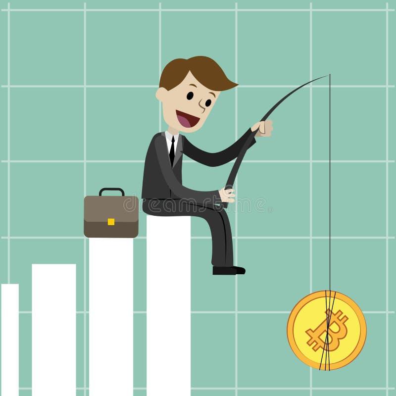 mercado de la Crypto-moneda Hombre de negocios que se sienta en la carta cada vez mayor y el Bitcoin de cogida concepto del negoc stock de ilustración