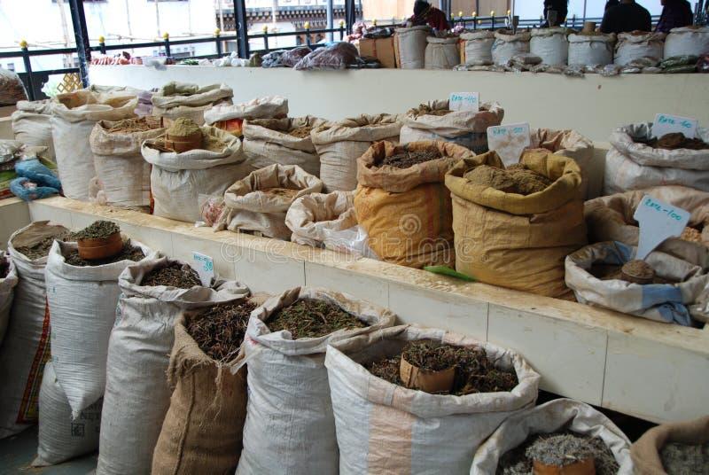 Mercado de la especia y del té de Bhután foto de archivo libre de regalías