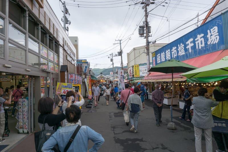 Mercado de la mañana de Hakodate fotos de archivo