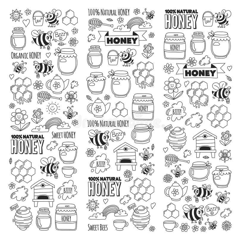 Mercado de la miel, bazar, imágenes justas del garabato de la miel de las abejas, flores, tarros, panal, colmena, punto, el barri ilustración del vector