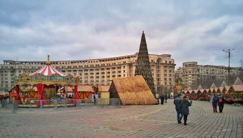 Mercado de la Navidad de Bucarest fotografía de archivo libre de regalías