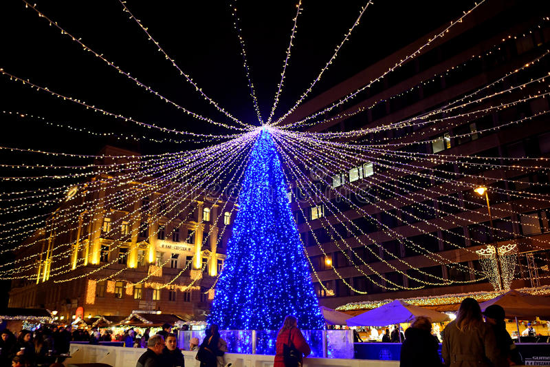 Mercado de la Navidad, Budapest, Hungría imagenes de archivo