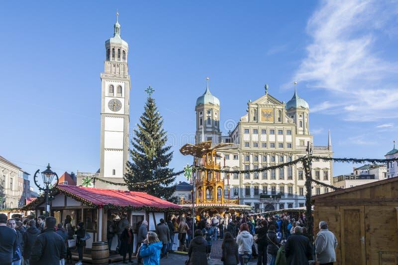 Mercado de la Navidad de Augsburg foto de archivo