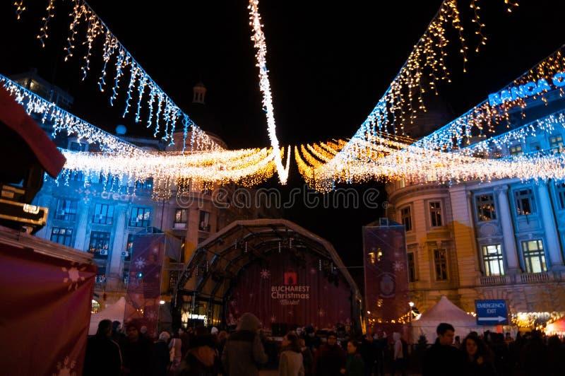 Mercado de la Navidad de Bucarest fotografía de archivo