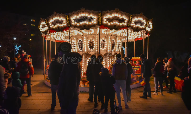 Mercado 2016 de la Navidad de Bucarest imagenes de archivo