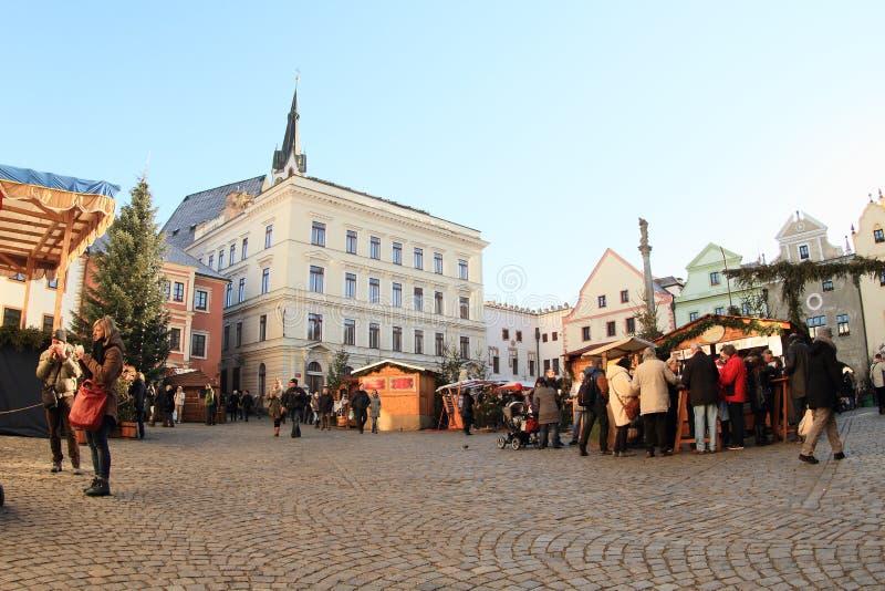 Mercado de la Navidad en Cesky Krumlov imagenes de archivo