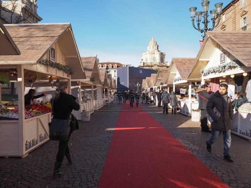 Mercado de la Navidad en Turín fotos de archivo libres de regalías