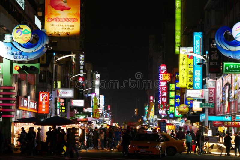 Mercado de la noche de Liuhe en Gaoxiong imagenes de archivo