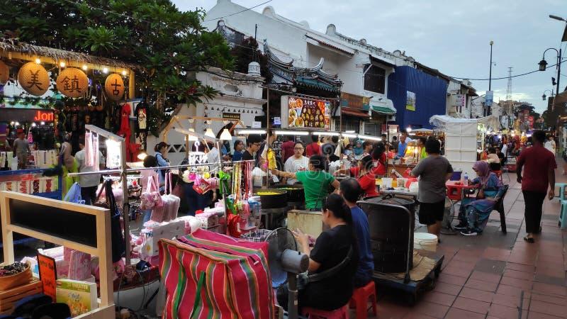 Mercado de la noche situado en la calle de Jonker, Melaka fotografía de archivo libre de regalías