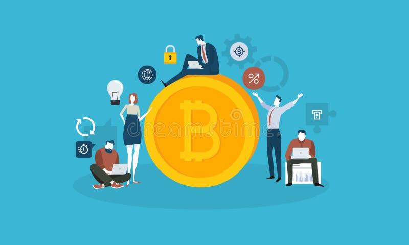 Mercado de la tecnología de Bitcoin stock de ilustración