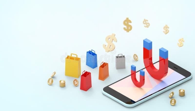 Mercado de las ventas y bolso de compras en línea del concepto del dinero de la gravedad del imán en el márketing de la página we ilustración del vector