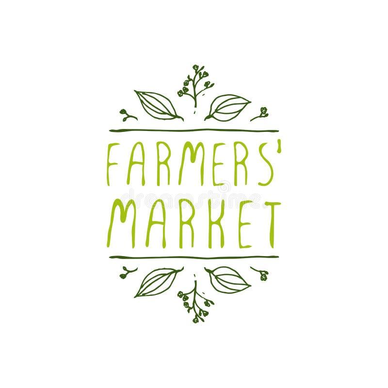 Mercado de los granjeros - etiqueta del producto en el fondo blanco stock de ilustración