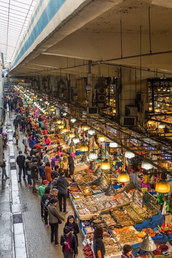 Mercado de los mariscos en Seul foto de archivo