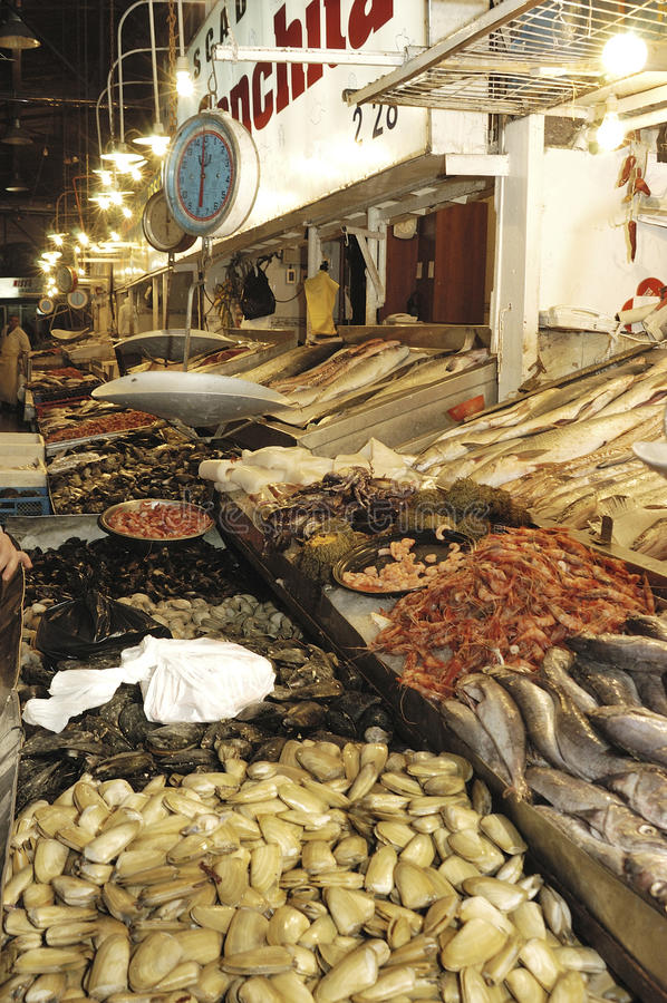 Mercado de los pescados y de los mariscos en Santiago de Chile foto de archivo