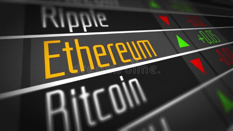 Mercado de moneda Crypto de Ethereum stock de ilustración