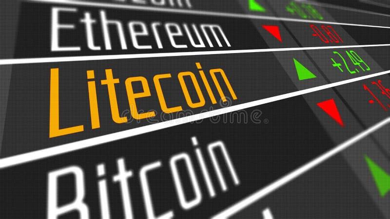 Mercado de moneda Crypto de Litecoin ilustración del vector