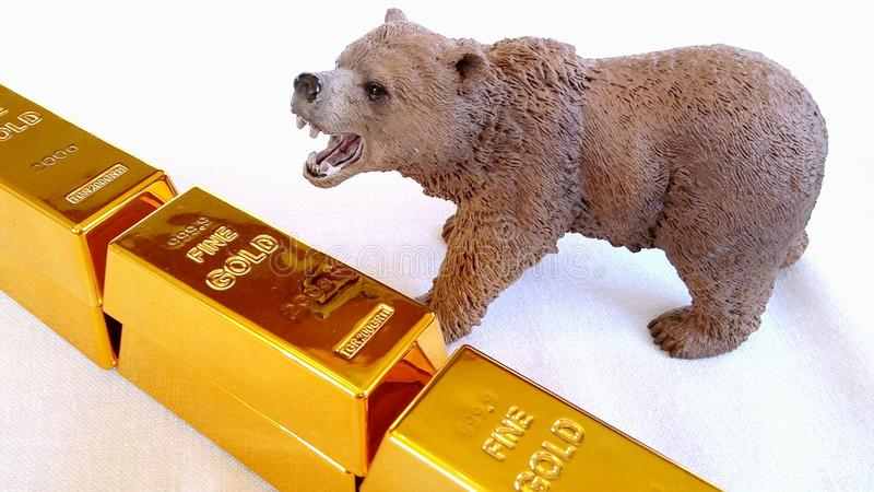 Mercado de ouro Bearish fotos de stock