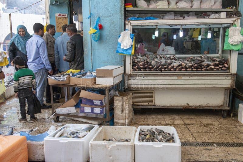 Mercado de peixes, Amman, Jord?nia, curso, M?dio Oriente foto de stock royalty free