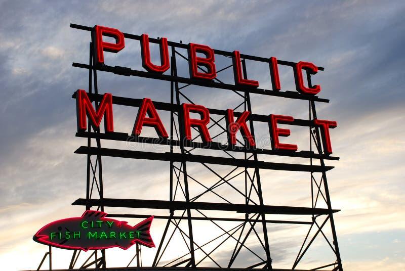 Mercado de peixes de Seattle fotografia de stock