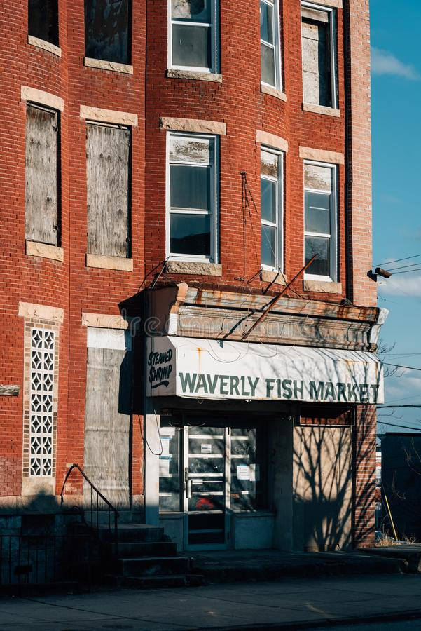 Mercado de peixes de Waverly, em Baltimore, Maryland imagens de stock royalty free
