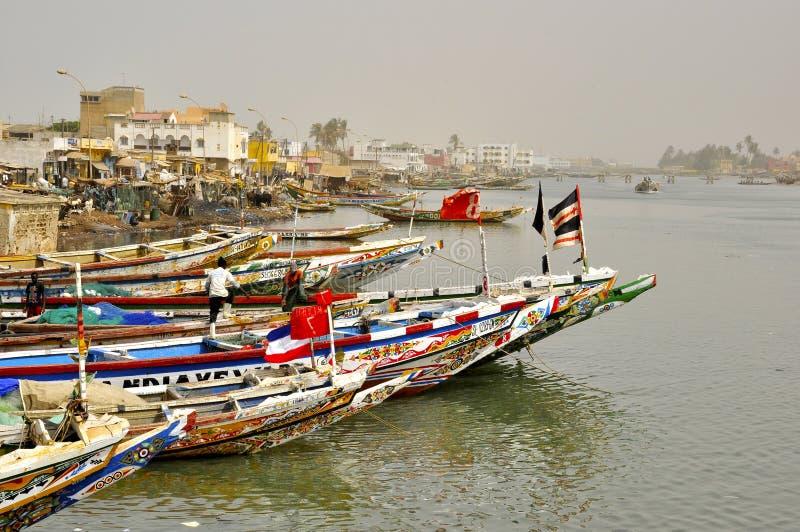 Mercado de pesca de Senegal St Louis imagens de stock royalty free