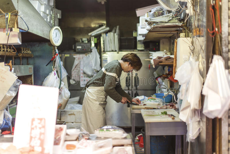 Mercado de pescados de Kuromon fotos de archivo