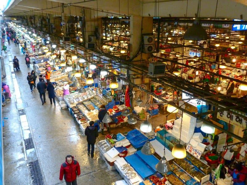 Mercado de pescados en Seul foto de archivo