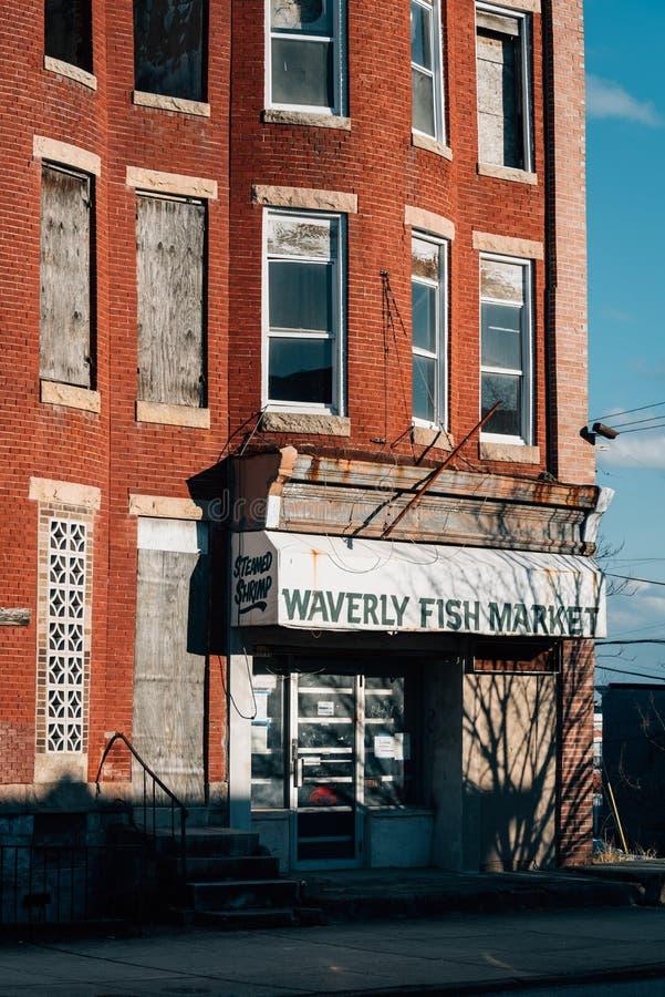 Mercado de pescados de Waverly, en Baltimore, Maryland imágenes de archivo libres de regalías