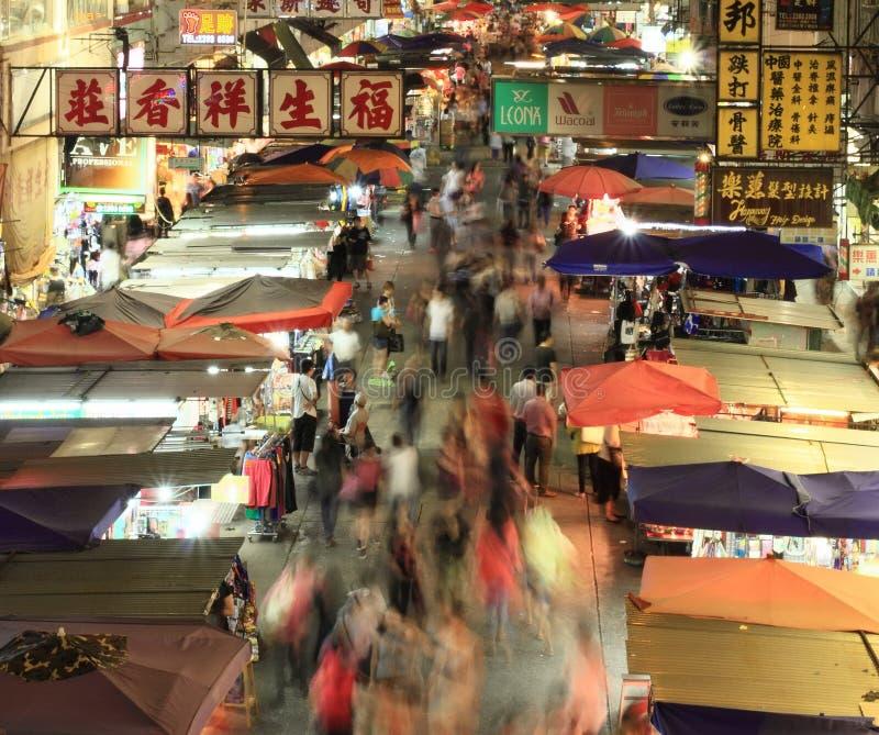 Mercado de pulgas de Mongkok en la noche, Hong Kong fotografía de archivo libre de regalías