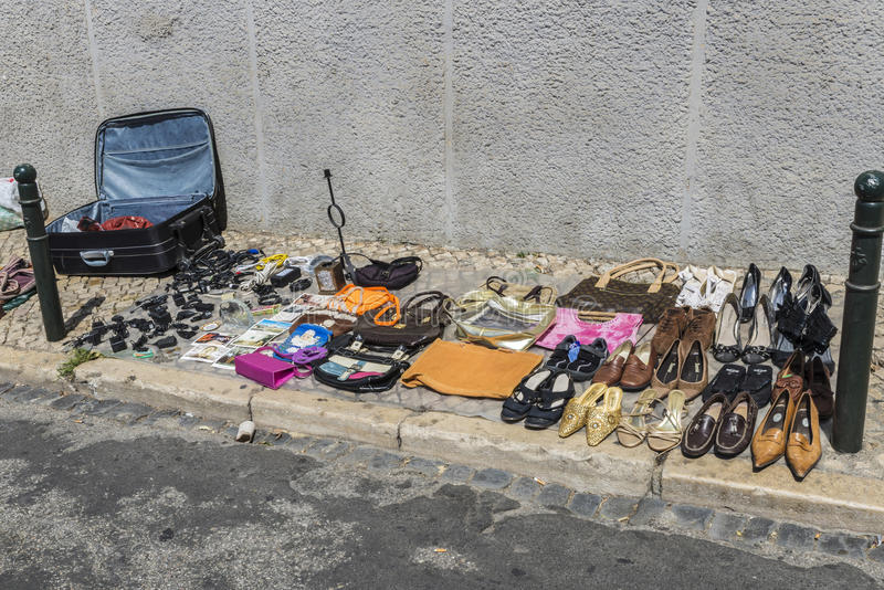 Mercado de pulgas, Feira DA Ladra, Lisboa fotografía de archivo