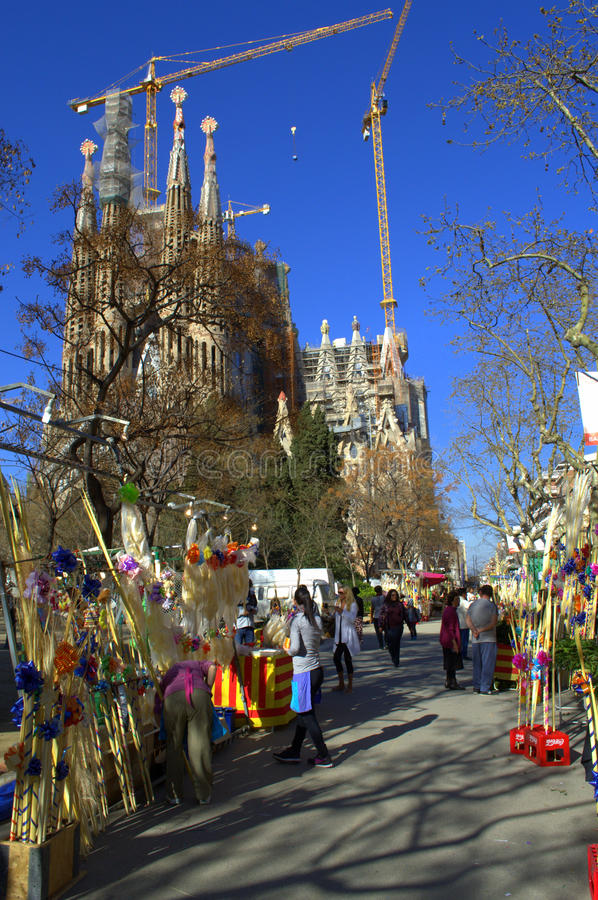 Mercado de Sagrada Familia Placa, Barcelona imagem de stock