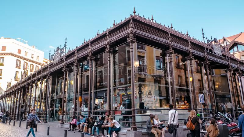 Mercado de San Miguel is a famous tapas place in the downtown of Madrid, Spain stock photo